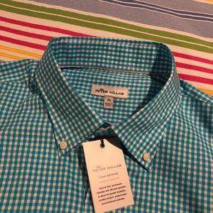 PETER MILLAR Men's Blue/White Gingham BD Shirt XL